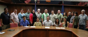 Governor Calvo thanked the new members of the Juvenile Justice Advisory Committee, the ServeGuam! Commission and the PEACE Council after receiving their oaths of office in the Cabinet Conference Room at Adelup today.