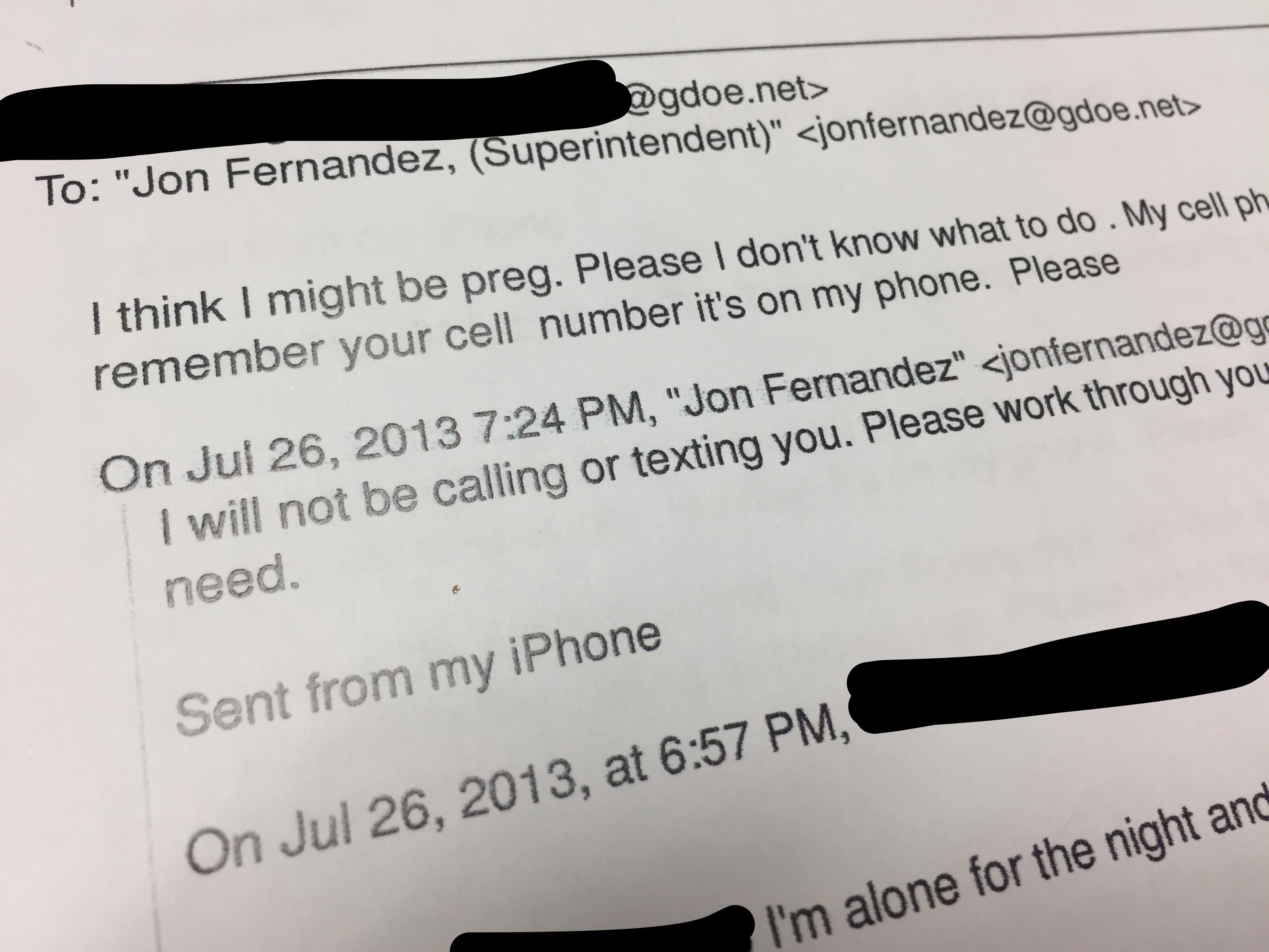 Email from fired GDOE employee to Fernandez alleges sexual